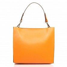 Кожаная деловая сумка Genuine Leather 8910 оранжевого цвета на молнии, с металлическими ножками