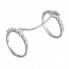 Серебряное кольцо на две фаланги с фианитами Флирт