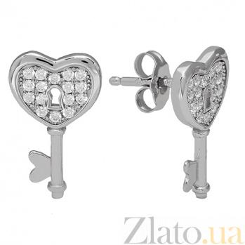 Серебрянные серьги Влюбленность 3С543-0144