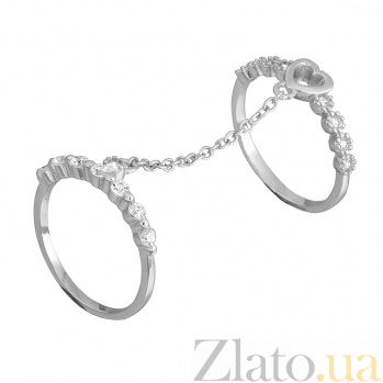 Серебряное кольцо на две фаланги с фианитами Флирт 000028080