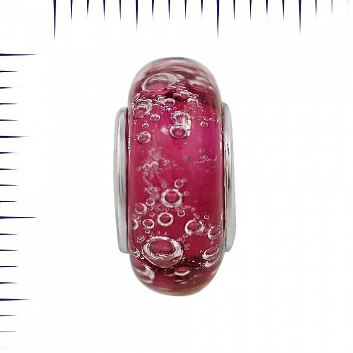 Серебряный шарм Шампань с розовым муранским стеклом 000081718