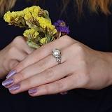 Серебряное кольцо Канвалия с белым жемчугом и фианитами