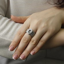 Золотое кольцо Синай в белом цвете с фактурной шинкой и бриллиантами