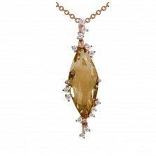 Кулон из красного золота Мария с бриллиантами и цитрином