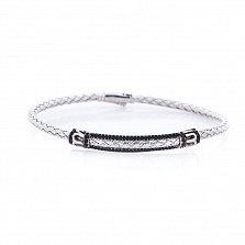 Серебряный браслет Аллегро в фантазийном плетении с черным цирконием