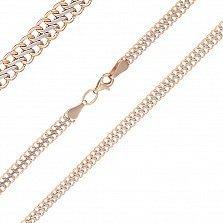 Золотая цепочка Вияна с алмазной гранью в комбинированном цвете металла