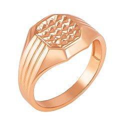 Перстень-печатка из красного золота с алмазной гранью 000133864