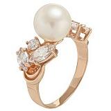 Золотое кольцо Ариэль с жемчугом и фианитами