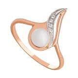 Золотое кольцо с жемчугом и фианитами Комета Галлея