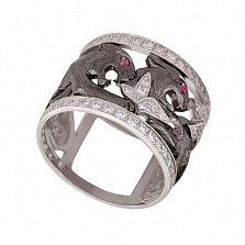 Кольцо из белого золота Львица с цирконием