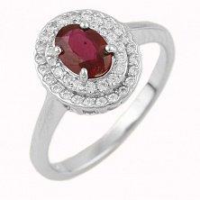 Серебряное кольцо Аллегра с рубином и фианитами