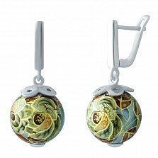 Серебряные серьги-подвески Арина с цветной эмалью