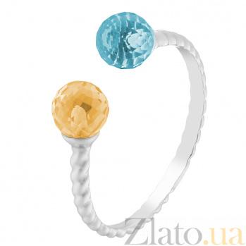 Золотое кольцо Кирина с голубым топазом и цитрином 000032748