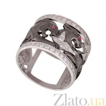 Кольцо из белого золота Львица с цирконием VLT--ТТ1223