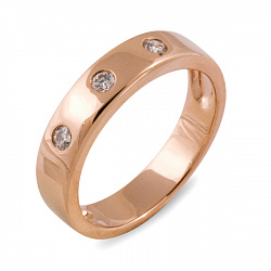 Обручальное кольцо Жизнь из красного золота с бриллиантами