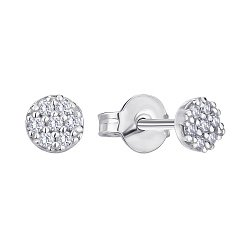 Серьги-пуссеты из белого золота с бриллиантами 000145585