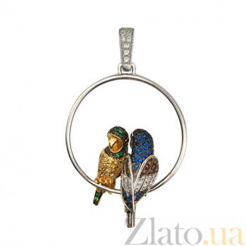 Кулон из белого золота Влюбленные попугайчики с фианитами VLT--ТТ3406