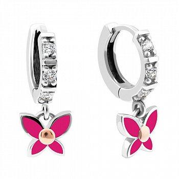 Срібні сережки з золотими накладками, фіанітами, рожевою емаллю і родієм 000099548
