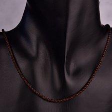 Темно-коричневый шелковый шнурок Ветер с серебряной застежкой,3 мм