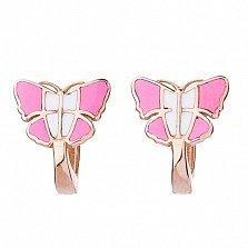 Детские золотые серьги с цветной эмалью Бабочки