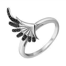 Серебряное кольцо с черными фианитами 000132652