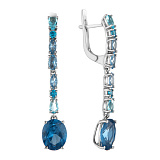 Серебряные серьги-подвески Ализея с голубым кварцем и фианитами