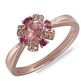 Кольцо Ева из красного золота с сапфирами, турмалином и бриллиантами