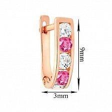 Золотые серьги Манон с розовым и белым цирконием
