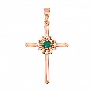 Декоративный крестик из красного золота с изумрудом и бриллиантами 000135528
