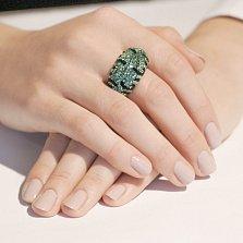 Серебряное кольцо с зелеными кристаллами Swarovski Королева ночи