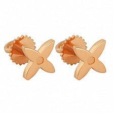 Минималистичные пуссеты-цветочки Флоренс из красного золота в стиле Луи Виттон