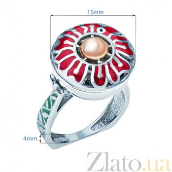 Серебряное кольцо с эмалью и вставкой золота Тюльпан 000027156