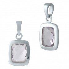 Серебряная подвеска Корнелия с завальцованным фиолетовым аметистом