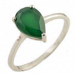 Серебряное кольцо Элейн с зеленым агатом