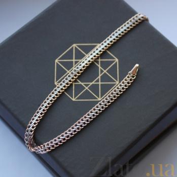 Золотой браслет Вияна с алмазной насечкой в плетении десятка 000004054