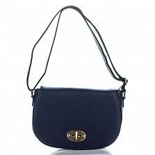 Кожаная сумка на каждый день Genuine Leather 3275 синего цвета на клапане с поворотным механизмом