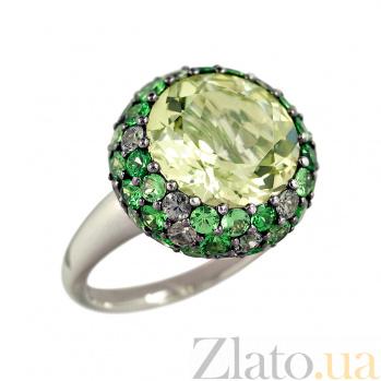 Золотое кольцо с кварцем, сапфирами и цаворитами Линнет 1К113-0036