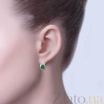 Серебряные серьги Очарование с зеленым цирконием и золотом AQA--303Сз