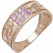 Золотое кольцо Роксет с аметистами и эмалью
