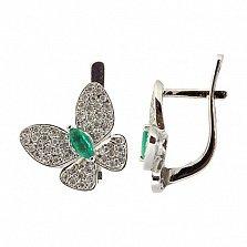 Серебряные сережки с изумрудами и цирконами Патрисия