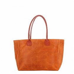 Кожаная сумка на каждый день Genuine Leather 7804 рыжего цвета на молнии и магнитной кнопке