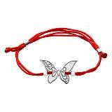 Шелковый браслет Бабочка с серебряной вставкой
