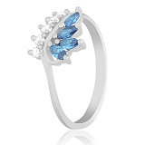 Серебряное кольцо с цирконием Папоротник