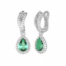 Серебряные серьги Катарина с зеленым кварцем и фианитами