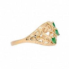 Золотое кольцо в красном цвете с изумрудами Джульетта