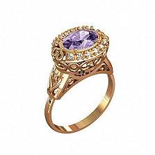 Кольцо в красном золоте Натали с аметистом и фианитами