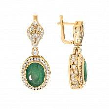 Золотые серьги-подвески Грезы султана с изумрудами и бриллиантами
