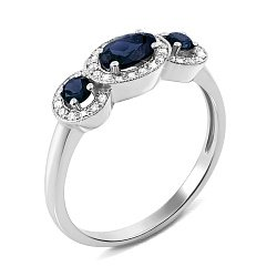 Кольцо из белого золота с сапфирами и бриллиантами 000137338