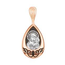 Серебряная ладанка Божья Матерь с младенцем с позолотой и чернением 000137278