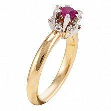 Золотое кольцо с бриллиантами и рубином Дамиана